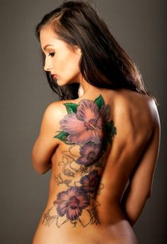 love this!     large flower back piece. #tattoo #purple