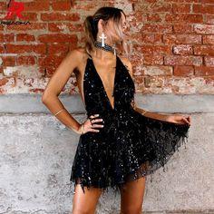 3036e4fcf1 Reaqka Sexy Sequined Dresses Women Backless Halter Black Gold Mini Dress  Party 2018 New Arrivals Tassel Summer Dress Club Wear