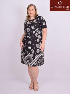 b2a60d4a4 Vestido Curto Manga Curta Viscolycra Estampada Plus Size - Arruaça Roupas  Para Gordinhas