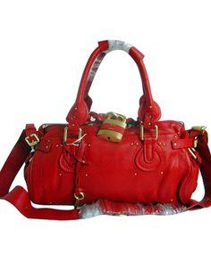Chloe Paddington Satchel Gold metal Bag Red