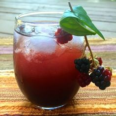 Make a blackberry shrub with basil, while the berries are still ripe! All you need is a handful of berries, a little sugar and vinegar, and a week of time.