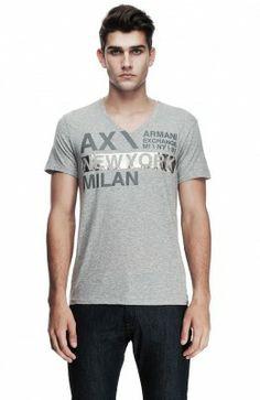 Camiseta Armani Exchange Men's Shiny Logo Tee Heather Grey Z6X119 #Camisetas #ArmaniExchange