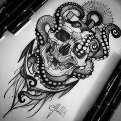 Image may contain: drawing Skull Sleeve Tattoos, Rose Tattoos On Wrist, Pirate Tattoo, Dark Art Tattoo, Old Tattoos, Tattoo Drawings, Art Drawings, Future Tattoos, Tattoo Models