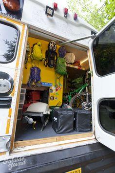 Outside Found Skoolie School Bus Conversion | Garage