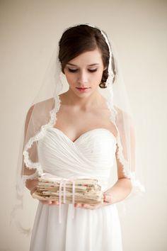Silk Mantilla Veil with French Alencon Lace, Fingertip Veil, Silk Veil, Bridal Veil, Heirloom Veil - Grace  MADE TO ORDER