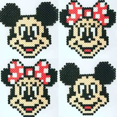 Mickey and Minnie Mouse perler beads by an.co.chan