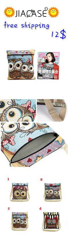 Cute #Cartoon #Owl #Printed Women #Crossbody #Bags Female #Casual #Canvas #Shoulder #Bags #Messenger #Package Bag