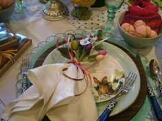 Easter setting, soft green and blue.