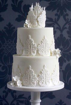 White Damask Wedding Cake