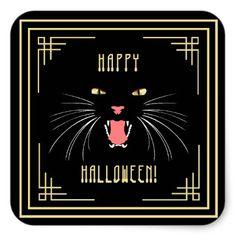 #Halloween Hissing Cat Black Elegant Stickers - #Halloween happy halloween #festival #party #holiday
