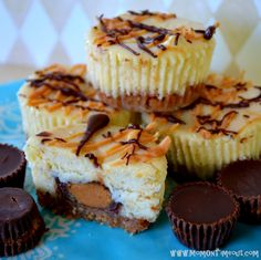 Reese's Peanut Butter Cup Mini Cheesecakes ~    Making them in a muffin tin aids in portion control (kind of) and they look so cute! It's a great party dessert!    Recipe @  http://www.momontimeout.com