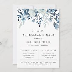 Rehearsal Dinner Invitations, Blue Wedding Invitations, Beautiful Wedding Invitations, Floral Wedding Invitations, Wedding Stationary, Rehearsal Dinners, Birthday Invitations, Original Wedding Invitations, Event Invitations