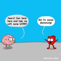 Heart and Brain! Heart And Brain Quotes, Heart And Brain Comic, Cute Cartoon Drawings, Cartoon Jokes, Awkward Quotes, Funny Quotes, The Awkward Yeti, Science Jokes, Science Cartoons