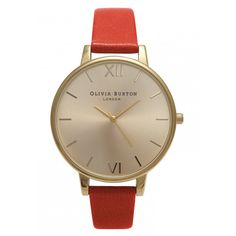 Olivia Burton Big Dial Watch - Flame Red & Gold (€110) ❤ liked on Polyvore featuring jewelry, watches, olivia burton, rose gold jewellery, pink gold watches, rose gold jewelry and dial watches