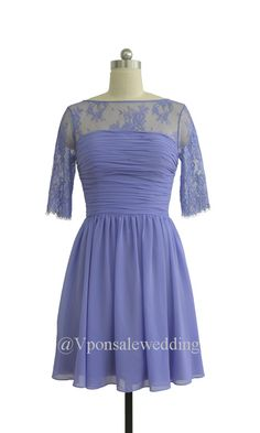 Purple Lace Bridesmaid Dresses with Middle Sleeves