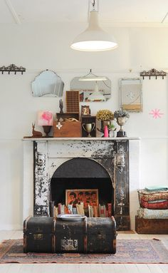 Birch + Bird: Tigs Macallan for Design*Sponge gorgeous shabby fireplace with asymmetrical staging above mantle, - great idea