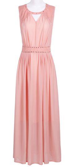 Pink Sleevelss Cut Out Rivet Embellished Long Dress
