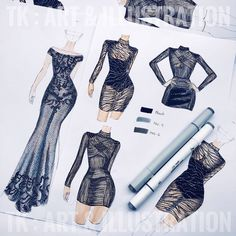 These are all so beautiful by Dress Design Sketches, Fashion Design Sketchbook, Fashion Design Drawings, Fashion Sketches, Fashion Drawing Dresses, Fashion Illustration Dresses, Fashion Illustrations, Dress Fashion, Fashion Outfits