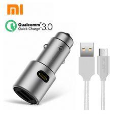 the best Original Xiaomi QC3.0 car charger xiaomi 5V/3A dual USB Quick charger 9V/2A 12V/1.5A MI quick car charger + 2A Magcle cable