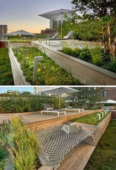 12 Ideas For Including Built-In Wooden Planters In Your Outdoor Space // These planters on a Chicago rooftop deck provide plenty of room for greenery and they separate to provide space for a hammock.