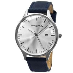 Prisma Dome Watch, Stainless steel case and Italian leather strap.