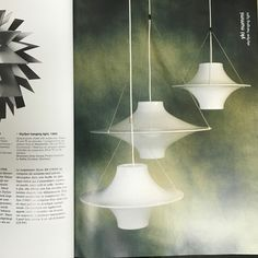 """<p>70 cm Skyflyer pendant designed by Yki Nummi (Finland) for Stockmann-Orno in 1960. He designed a series of plexiglass lamps in the 50s and 60s. This design won many international awards. The shade is made of white acrylic and lamp hangs on three metal chains. It is also known by the Finnish title """"Lokki"""" (seagull). Source: Indoor Lampen Catalogue and the 1000 lampen boek by Taschen.</p> Brass Pendant Light, Pendant Chandelier, Light In, Pendant Design, White Acrylics, Hanging Lights, Plexus Products, Finland, Indoor"""