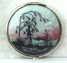 enamel compacts | sterling silver figural enamel guilloche compact i just love the ...