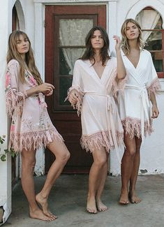 The Bohemian Lifestyle on Covetboard features an eclectic mix of bohemian decor and fabulous boho fashion. Covet bohemian fashion now on Covetboard. Bridesmaid Get Ready Outfit, Bridesmaid Pyjamas, Bridesmaid Getting Ready, Bridesmaid Dress Styles, Bridesmaid Robes, Bridesmaids, Wedding Dresses, Bohemian Bridesmaid, Plum Pretty Sugar