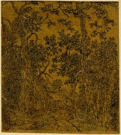 1610-1638. Hercules Segers, The House in the Woods, etching on beige-dyed cotton, ca. 1610-38, The British Museum.