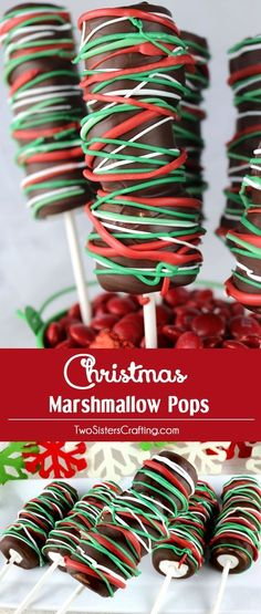 Christmas Marshmallow Pops - a festive and yummy Christmas dessert for your family. So easy to make and you won't believe how delicious these Chocolate covered Marshmallow Wands are. They would be a great Christmas Treat for this year's Holiday Party.
