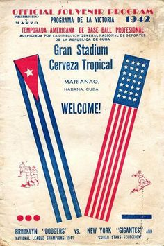 """Cover of the program of the 1942 """"American Series"""" that saw the Brooklyn Dodgers and New York Giants play spring training games at Cuba's La Tropical Stadium. Baseball Art, Dodgers Baseball, Baseball Stuff, Vintage Cuba, Retro Vintage, League Champions, American Series, Usa Today Sports, Spring Training"""
