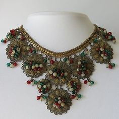 Vintage-1940s-Miriam-Haskell-Glass-Cluster-Dangle-Bib-Necklace