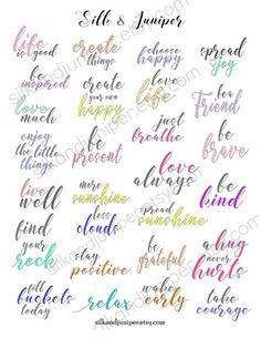 Positive Quotes Printable. Planner Quotes. Printable Planner Quotes. Happy Mail Quotes. Colorful quote printables.