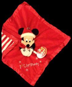 Mickey Baby's 1st Christmas Santa Security Blanket Lovey Stripe Plush Comforter #Disney