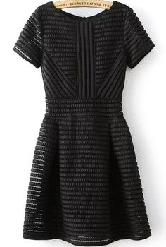 Romwe With Zipper Striped Flare Black Dress