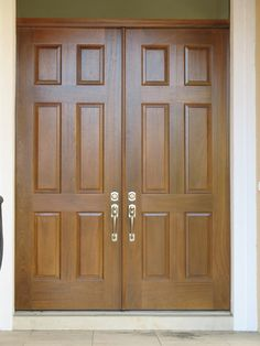 Solid Wood French Doors Exterior - Keep your houses safe from burglars. Never allow strangers to causing damage, hurt your l Wooden Main Door Design, Double Door Design, Front Door Design, Wooden Double Doors, Wooden Front Doors, Wood Doors, Wood French Doors Exterior, Double Doors Exterior, Porte Design
