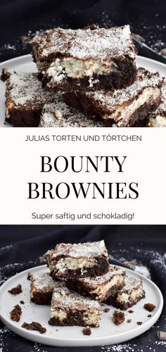 Bounty Brownies - Saftige Brownies mit Kokos Füllung Bounty Brownies Simple recipe for juicy, chocolatey brownies in the style of bounty, i. with coconut filling. Just imagine a big, much Hot Chocolate Brownies, Vegan Hot Chocolate, Salted Caramel Brownies, Brownie Recipes, Cake Recipes, Dessert Recipes, Desserts, Bounty Torte, Healthy Travel Snacks