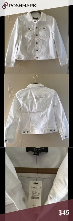 🎉 NWT 🎉 Talbots White Denim Jacket Size MP! This white denim jacket from Talbots is New With Tags, never worn!  😀. Bought for a trip that got cancelled.  ☹️. My bad luck is your great deal!  👍. Size Medium Petite.  See pictures for fabric content.  No trades please. Talbots Jackets & Coats Jean Jackets