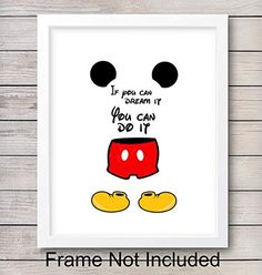 Inspirational Art Quotes Posters for Bedroom Gift for Women 8x10 Decorations Disney Mickey Mouse Wall Decor Set Living Room Disney World Fans UNFRAMED Home Office