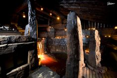 Sauna with a natural forest creek led to go through the steam-room (Storfinnhova Gård resort, Finland) Rustic Saunas, Steam Room, Archipelago, Finland, Granite, Places To See, Relax, Led, Nature