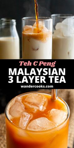 The popular Malaysian Teh C Peng Special recipe is here! This stunning 3 layer tea is icy and sweet, ready to cool you down on a hot day. Made from gula melaka syrup, evaporated milk and strong black tea – yum. Easy Weeknight Meals, Easy Meals, 5 Minute Meals, Evaporated Milk, World Recipes, Special Recipes, Sweet Desserts, International Recipes, Easy Dinner Recipes