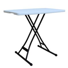"""Alextend 30"""" X 20"""" Height Adjustable Folding Table, White"""