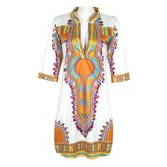 2016 Women Summer Dress Casual African Print Party Dresses Plus Size Deep V-Neck