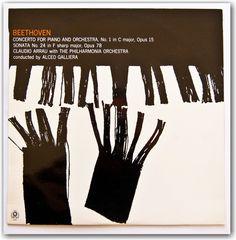 Album cover for Beethoven designed by Rob Hall for World Record Company, Melbourne. via retrographic design