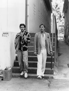 """Glenn Frey, of The Eagles, and Don Johnson as Sonny Crockett in the Miami Vice episode """"Smuggler's Blues""""."""