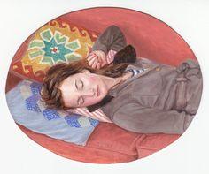 'Dreamer' Acrylic on paper 13 X 10 com