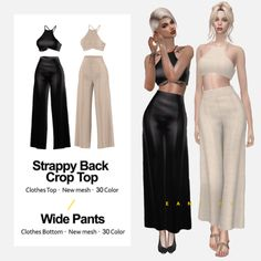 EAN Sims - Strappy Back Crop Top swatches) & Wide Pants swatches) Sims 4 Toddler Clothes, Sims 4 Mods Clothes, Sims 4 Clothing, Vêtement Harris Tweed, Sims 4 Dresses, Sims 4 Outfits, Vetements Clothing, The Sims 4 Packs, The Sims 4 Cabelos