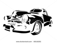 Stencils Of Cars Old Vintage Car Isolated On