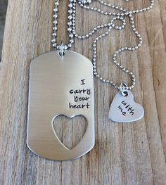 I carry your heart with me his and her gift by CMKreations on Etsy. I got this for my bf who is leaving for military school.