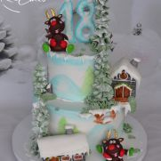 Happy Winter Cake by Zaklina Christmas Themed Cake, Christmas Deserts, Christmas Goodies, Winter Christmas, Christmas Themes, Christmas Decorations, Christmas Cakes, Cake Cookies, Cupcake Cakes